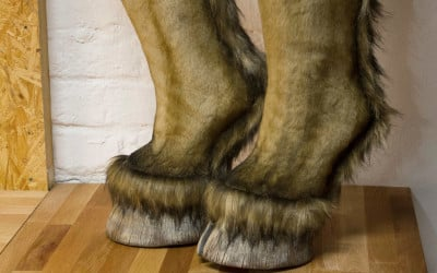 Hooved shoes covered with fur