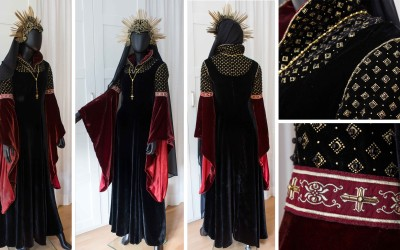 Finished Dress and Headpiece